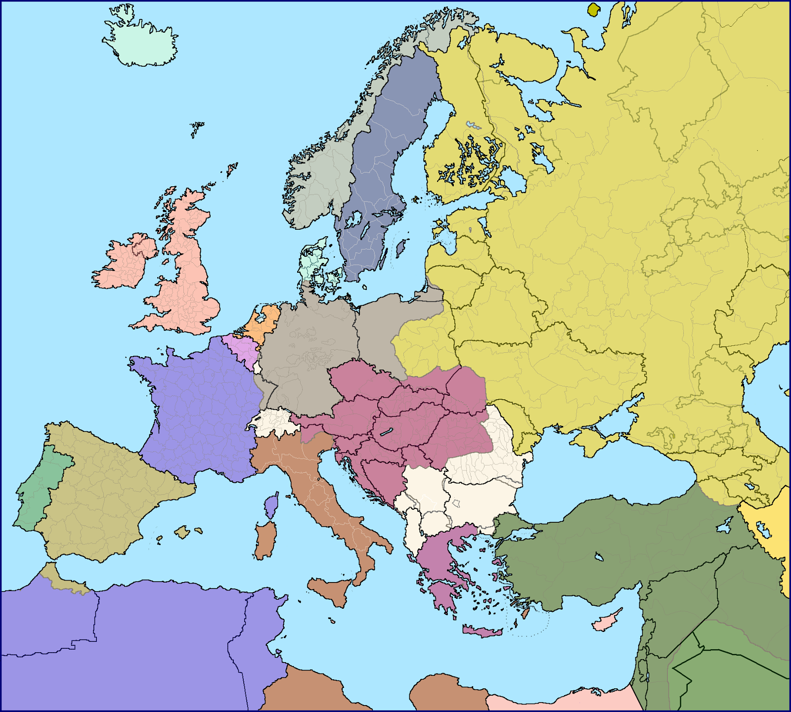 European borders in 1914 over current ones