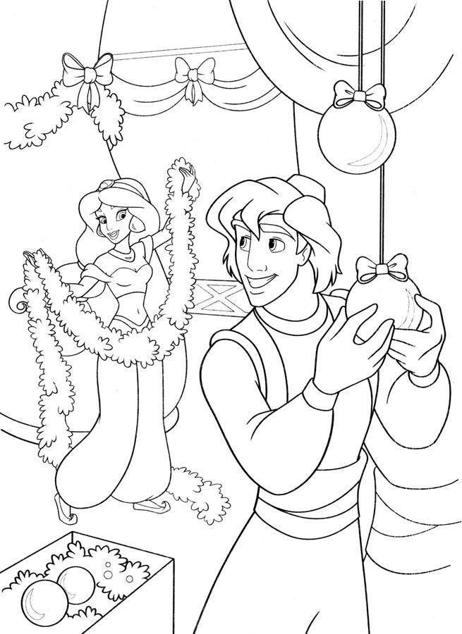 Зачарованный мир: Алладин и Жасмин - раскраски с ...