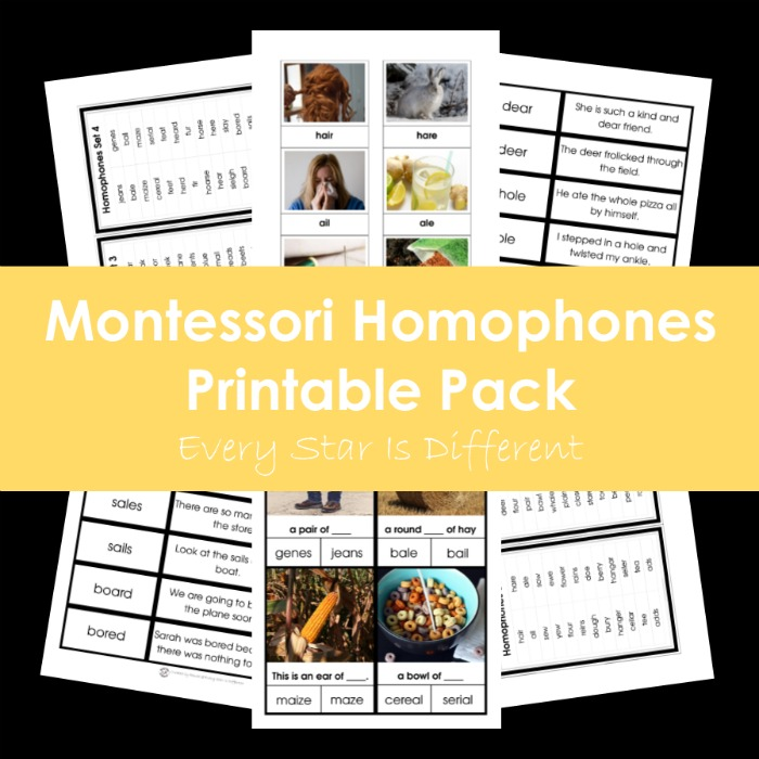 Montessori Homophones Printable Pack