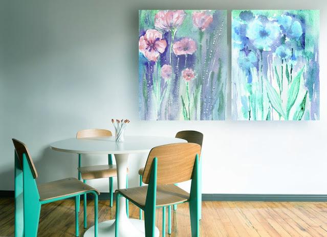 Baby Pink and Baby Blue Abstract Flowers In Interior Decor artist Irina Sztukowski