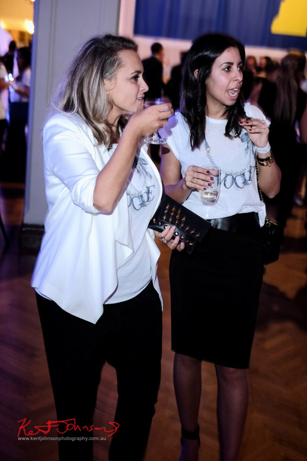 Two women in Vogue FNO tee shirts at The Social Party at Pelicano David Jones for VFNO
