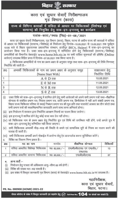 70 Post Vacancy in Bihar Government Prison www.home.bih.nic.in. 2021 Application Form Notification Medical Doctor