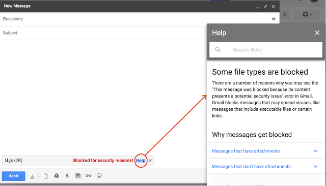 Google says it will block javascript file attachments (.js)  in Gmail starting from February 13 citing security issues