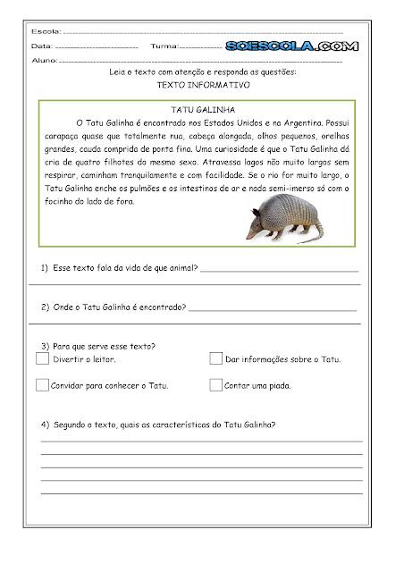 Leitura e Interpretação de Texto - 'Tatu Galinha'