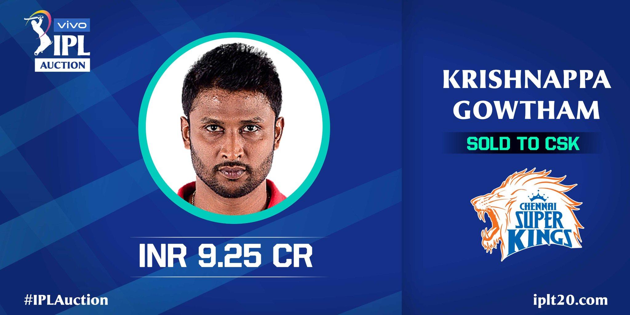 Krishnappa Gawtham IPL 2021 Auction