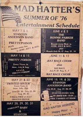 Band line up for The Mad Hatter rock club summer of 1976. I was a freshman in high school... how fuckin' awesome were we as teenagers!!! Fuck yeah!