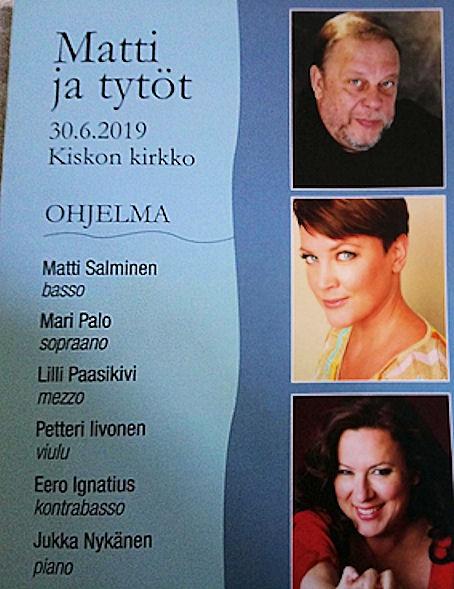 Tässä ja sen alla olevassa kuvassa Matti ja tytöt -konsertin ohjelma
