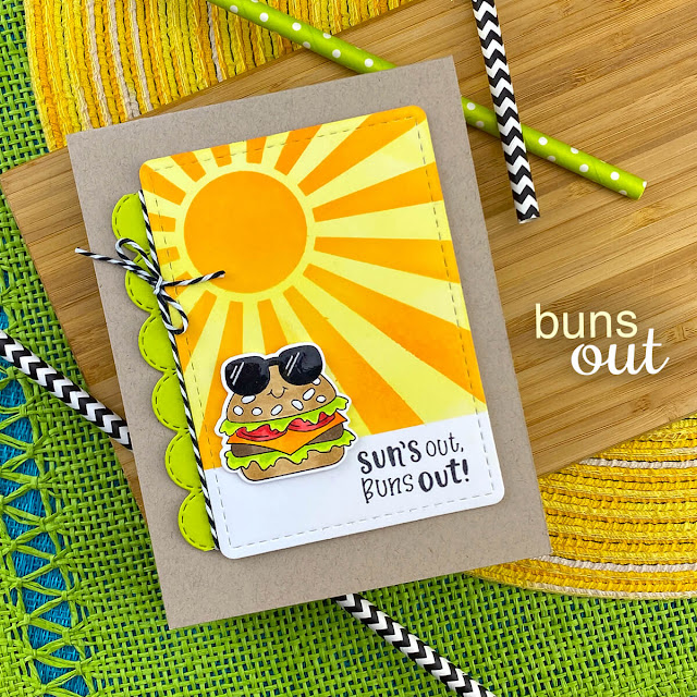 Summer Hamburger card by Jennifer Jackson | Buns Out Stamp Set and Sunscape Stencil by Newton's Nook Designs #newtonsnook