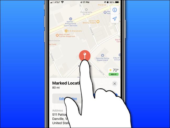 اضغط مع الاستمرار على الشاشة على iPhone أو iPad لإسقاط دبوس العلامة
