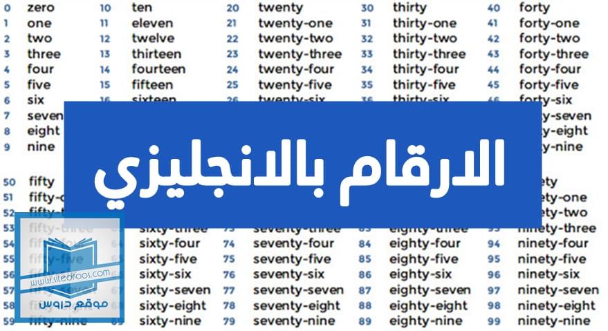 كتابة الارقام بالانجليزي من 1 الى 1000 مع النطق