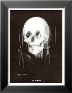 Karanlıkta aynaya bakan bir bayanın kuru kafa gibi görünmesinden oluşan tablo