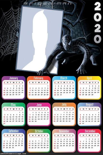 El Hombre Araña: Calendario 2020 para Imprimir Gratis.