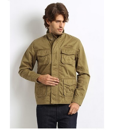 Steal Deal: Pepe Jeans Men Khaki Jacket worth Rs.4999 just for Rs.1837 Only (Hurry!! Only Size Medium & Large Available)