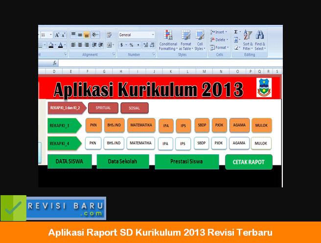 Aplikasi Raport SD Kurikulum 2013 Revisi Terbaru