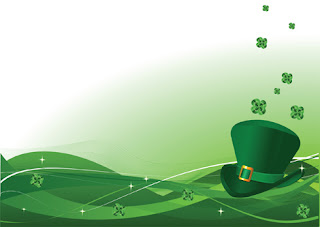 Clipart Image of a St. Patrick's Day Background With a Green Hat and Shamrocks