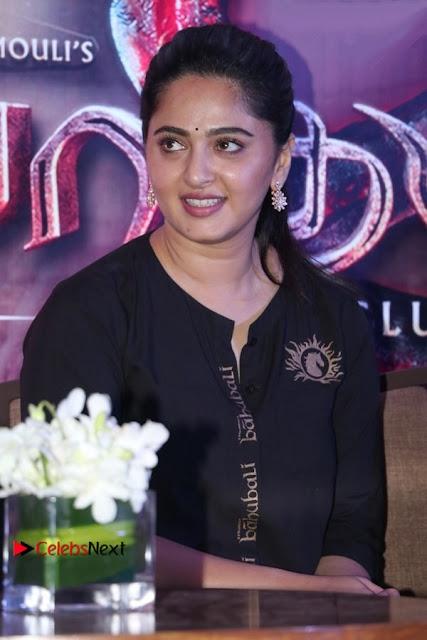 Actress Anushka Shetty Stills in Black Gurthi at Baahubali 2 Press Meet  0010.jpg