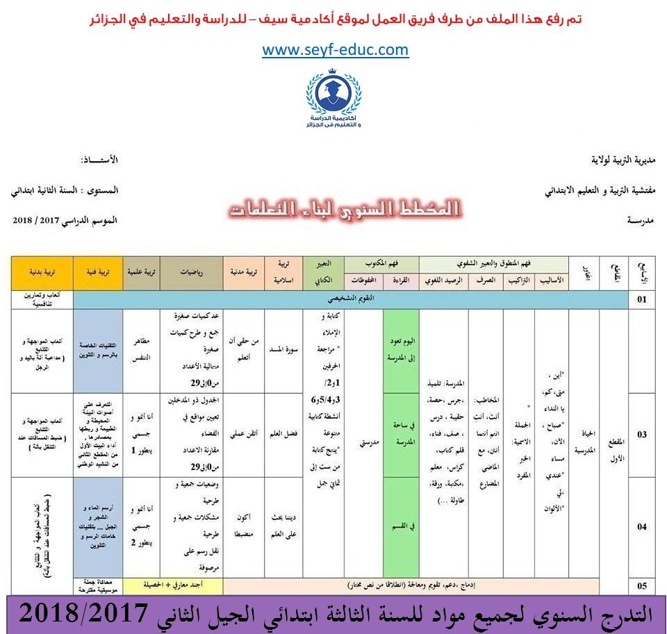 التدرج السنوي لجميع مواد للسنة الثالثة ابتدائي الجيل الثاني 2018/2017