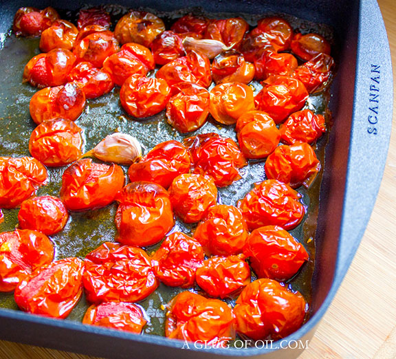 Roasted tomatoes in a baking dish