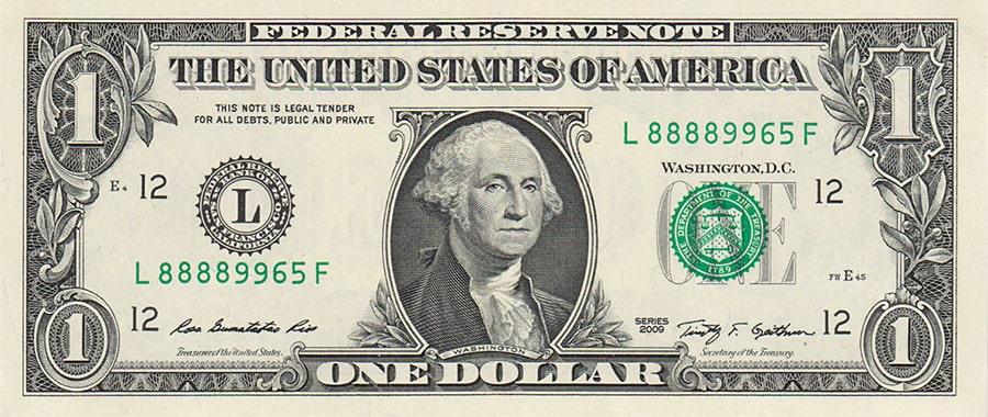 Банкноты долларов США номиналом 1$