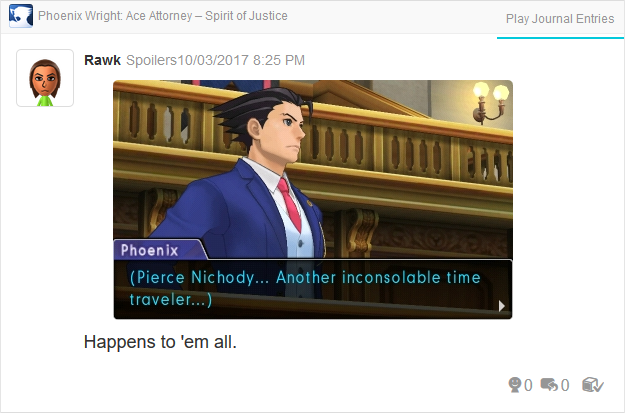 Phoenix Wright Ace Attorney Spirit of Justice Pierce Nichody inconsolable time traveler