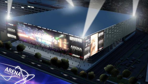 Arena CDMX vista por el Frente con luces de Noche