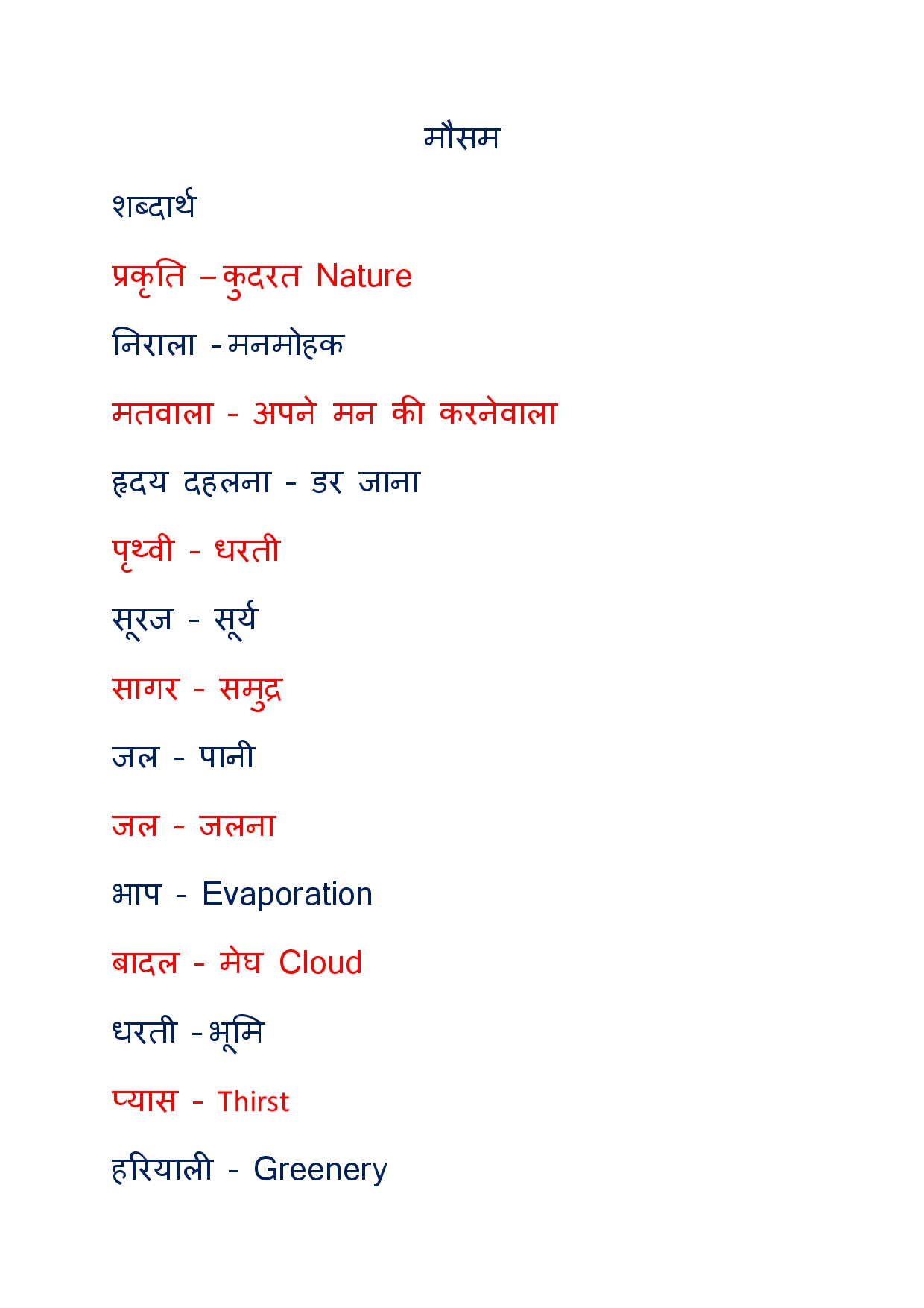Meaning in hindi word English to