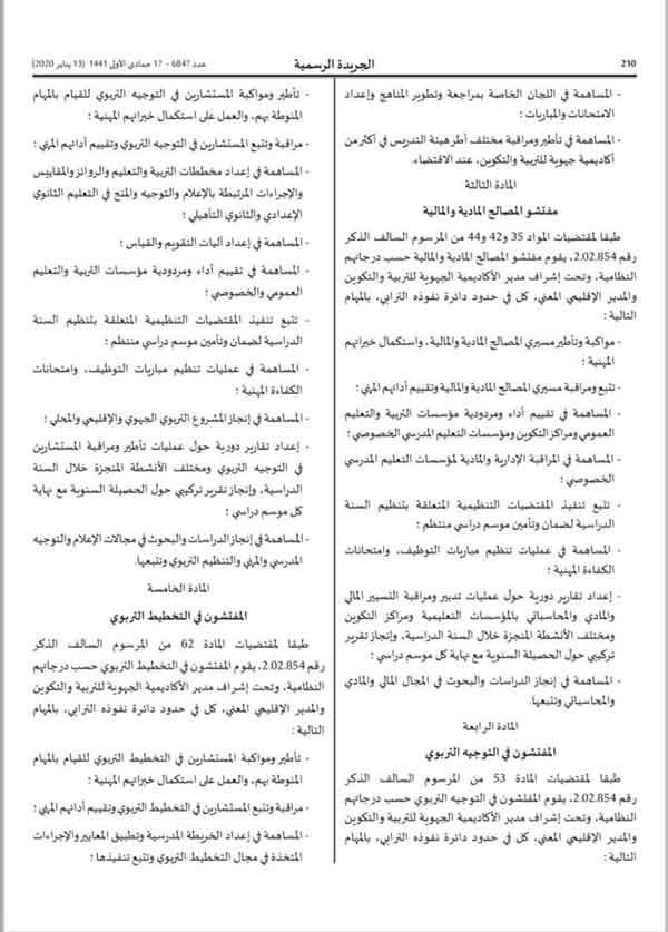 مهام أطر التفتيش المنشورة في الجريدة الرسمية يناير 2020