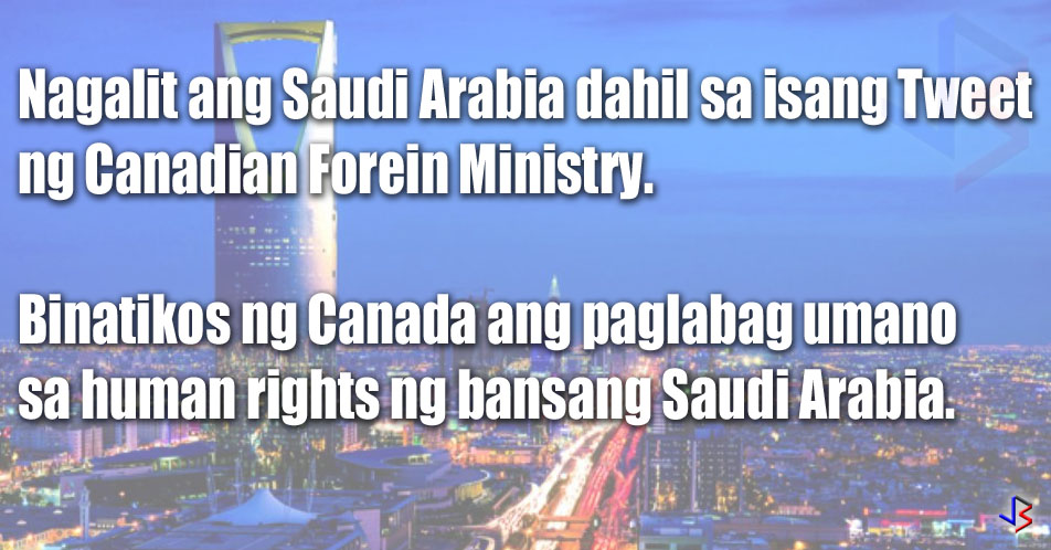 "A huge diplomatic row is happening between Saudi Arabia and Canada because of one tweet by the Canadian Foreign Ministry. It is expected to affect the Saudi economy but more so the Canadian economy. Some movements have already been observed in the Canadian dollar exchange rate. Other sectors are expected to be affected as Saudi Arabia escalates their actions against Canada. These include Saudi scholarship students studying in Canada, as well as a huge defense contract between the two countries.  A huge diplomatic row is happening between Saudi Arabia and Canada because of one tweet by the Canadian Foreign Ministry. It is expected to affect the Saudi economy but more so the Canadian economy. Some movements have already been observed in the Canadian dollar exchange rate. Other sectors are expected to be affected as Saudi Arabia escalates their actions against Canada. These include Saudi scholarship students studying in Canada, as well as a huge defense contract between the two countries.  Along with the expulsion, the Saudi government froze all trade and investment deals with Canada. This will potentially affect Canada's economy, especially since the Canadian unit of US weapons maker General Dynamics Corp. won a contract worth up to $13 billion to build light-armored vehicles for Saudi Arabia. Saudi also supplies 10% of Canada's crude oil supply. The Canadian dollar has already seen a 0.3% decline on Monday trading.    Meanwhile. state airline Saudia said it is suspending flights to and from Toronto starting August 13. The Saudi Ministry of education is also moving to relocate about 7,000 Saudi scholarship recipients studying in Canada. This is in addition to suspending training programs and fellowships in Canada. In a statement released by Saudi Arabia, it warned that ""any further step from the Canadian side in that direction will be considered as acknowledgment of our right to interfere in the Canadian domestic affairs.""  In what could be a repeat of the Qatar Diplomatic row, there is a huge possibility that Saudi allies in the region will join the middle east powerhouse. Bahrain, a staunch Saudi ally, said it backed the Saudi move. The country's foreign ministry slammed what it called ""unacceptable intervention in the internal affairs of the Kingdom of Saudi Arabia.""    Human rights groups sided with Canada and called on states with influence in Saudi Arabia - namely, the United States, United Kingdom and France - to end their silence with regard to Saudi Arabia's treatment of ""human rights defenders.""  Very few countries actually criticize Saudi Arabia, in part due to their vast wealth derived from oil, and the huge influence they hold in the Middle East and among Islamic countries.  This post is filed under Saudi Arabia, Canada, Diplomatic row, Saudi economy, Canadian economy, exchange rate, Saudi scholarship, defense contract, tweet, twitter, Middle East, Canadian visa, super visa"