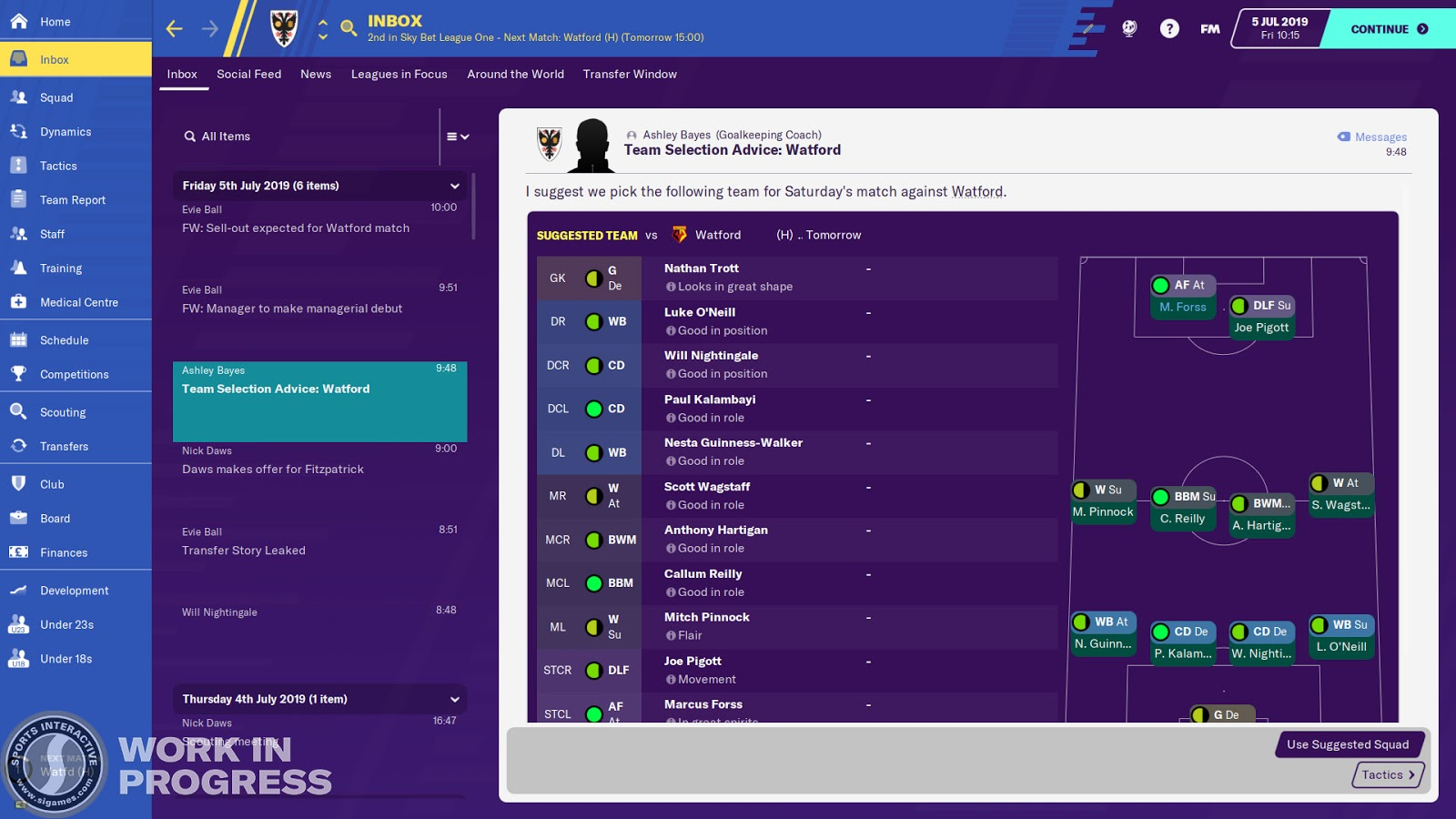 Team selection advice on the tactics screen in Football Manager 2020