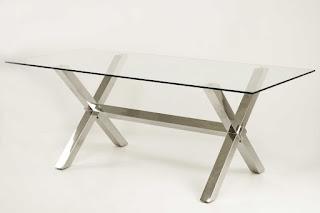 Mesa Comedor Rectangular Metal Cristal