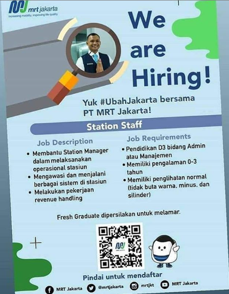 Lowongan Kerja di MRT Jakarta Agustus 2019