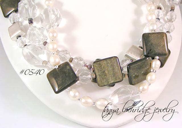 Tanya Lochridge Jewelry Golden Obsidian, Crystal Quartz Gemstone & Freshwater Pearl Necklace