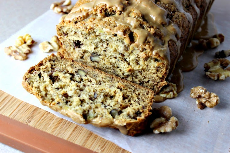 Maple Walnut Banana Bread with Maple Glaze cut on platter