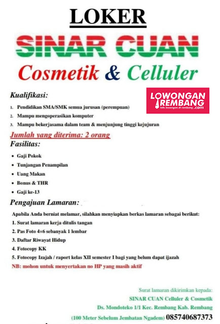 Lowongan Kerja 2 Karyawati Sinar Cuan Cosmetik & Celluler Rembang