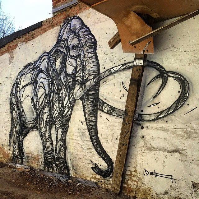 Mural en la calle  de un elefante - Arte creativo