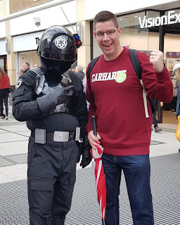 Meeting a Star Wars Imperial Gunner at the Merseyway Shopping Centre Comic Con in Stockport