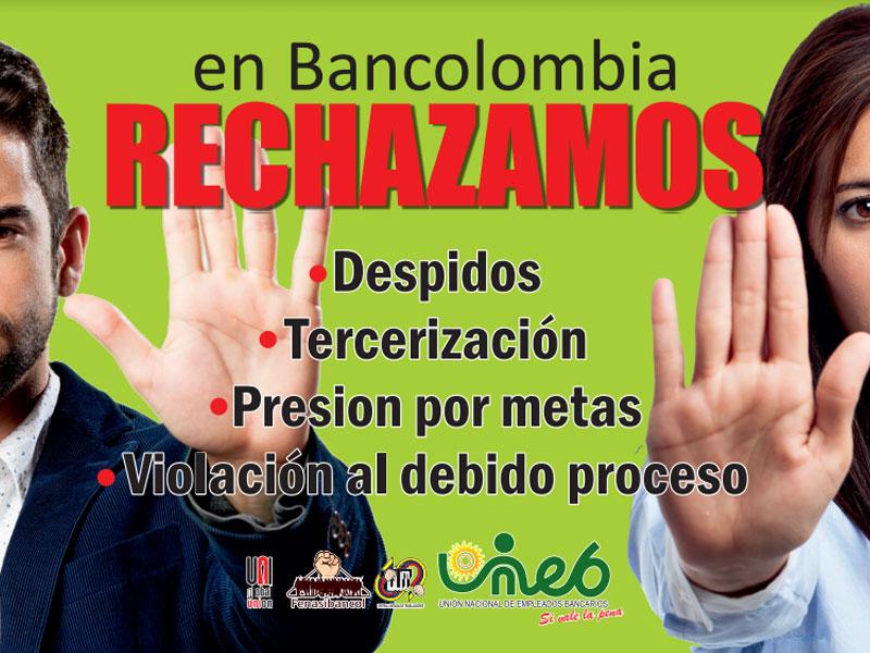 Uneb rechaza despidos y más en Bancolombia