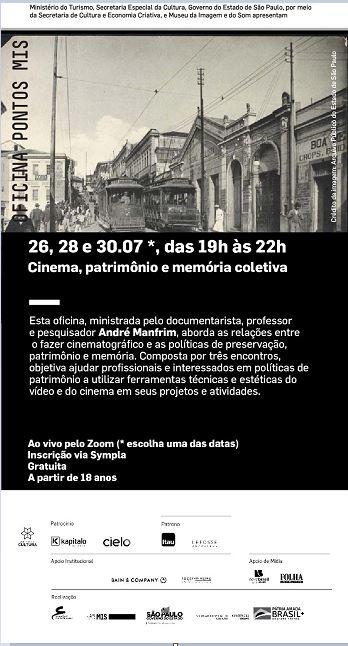 Pontos Mis e Cultura da Ilha anunciam inscrições abertas para Oficina Cinema, patrimônio e memória coletiva com André Manfrim