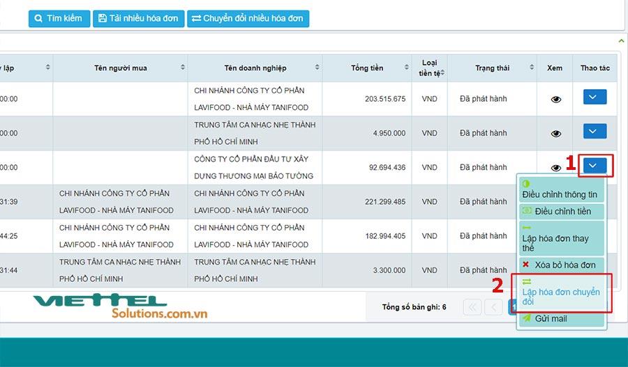 Hình 3 - Lập hóa đơn chuyển đổi trên hệ thống S-invoice