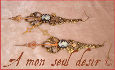 boucles d'oreilles steampunk aiguilles de montre camées steampunk earrings cameo watch hands