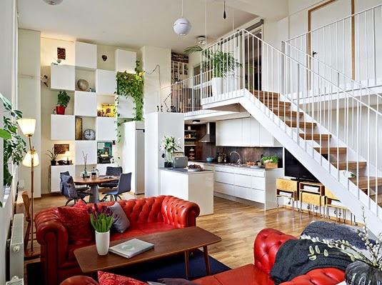 Ideas deco c mo decorar el sal n con un sof rojo tr s - Salon con sofa rojo ...