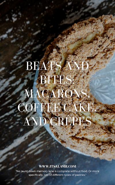 "Beats and Bites: Macarons, Coffee Cake, and Crêpes. ""No jaunt down memory lane is complete without food. Or more specifically, lots of different types of pastries."" Click here to read more, or pin and save for later. #food #playlist #baking #coffeecake"