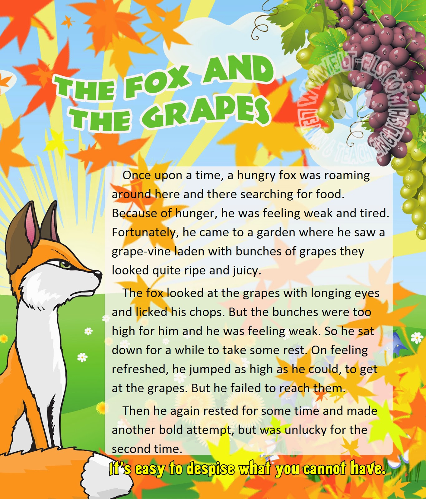 Fox and grapes story video