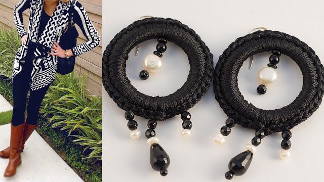 orecchini boho style agata nera onice perle