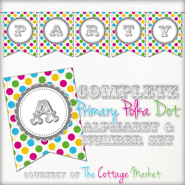 graphic relating to Free Printable Alphabet Letters for Banners called Absolutely free Printable Polka Dot Celebration Banner The Cottage Market place