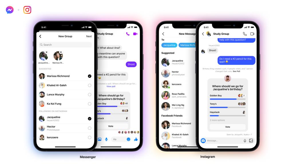 Chat di gruppo fra contatti Messenger e Instagram disponibili