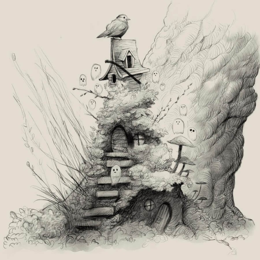 05-A-bird-house-and-tiny-ghosts-Dave-Mottram-www-designstack-co