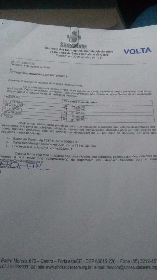 Sindsaúde envia ofício e cobra repasse de contribuição sindical de 54.708,20 da Prefeitura Municipal de Potengi
