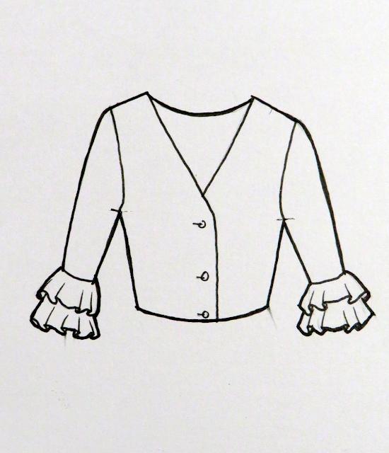 Ilustración dibujo plano de la blusa acabada. Las mangas son con dos volantes en el puño