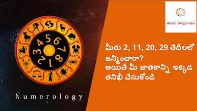 Check your horoscope here if you are born on 2, 11, 20, 29 date. మీరు 2, 11, 20, 29 తేదీలలో జన్మించారా అయితే మీ జాతకాన్ని ఇక్కడ తనిఖీ చేసుకోండి